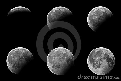 Phases of a partial eclipse of the moon