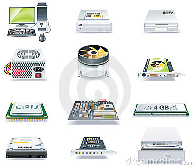 Vector detailed computer parts icon set. Part 1