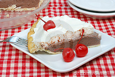 Chocolate Cream Pie with Maraschino Cherries
