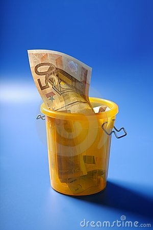 Fifty euro currency note on the trash