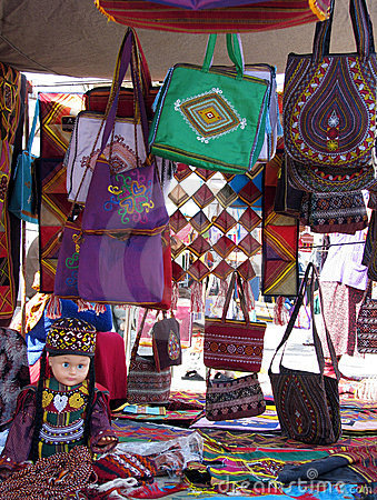 Oriental bazaar objects - doll and embroided bags