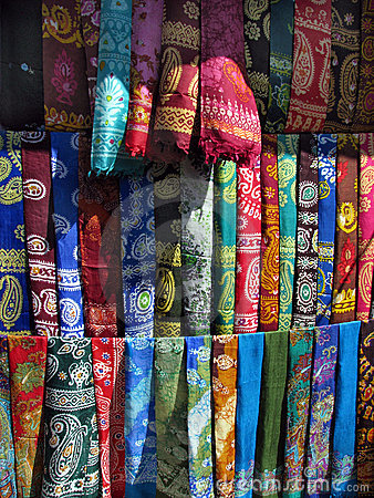 Oriental bazaar objects - silk kerchiefs