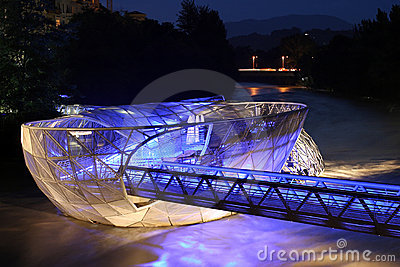 Murinsel in Graz at night