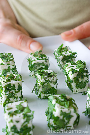 Cheese cubes as finger food