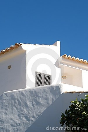 Typical house with white stucco in Algarve Typica