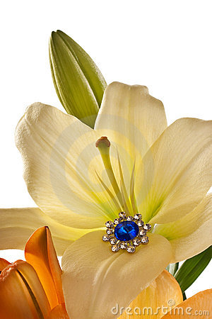Lilies and earring with blue gem