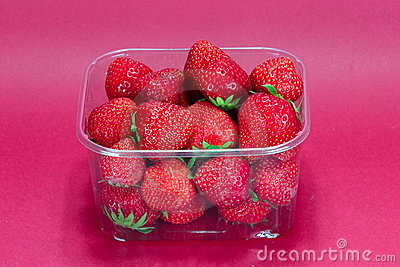 Strawberry in plastic packaging