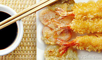 Shrimp Tempura with Chopsticks and Soy Sauce
