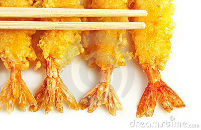 Shrimp Tempura with Chopsticks
