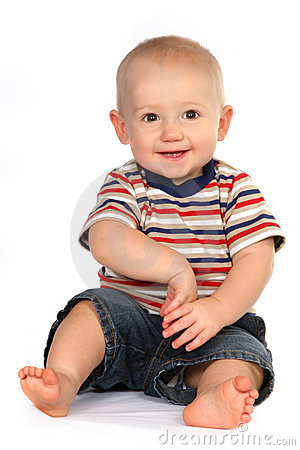 Cute Baby Boy Toddler Sitting and Holding Hand