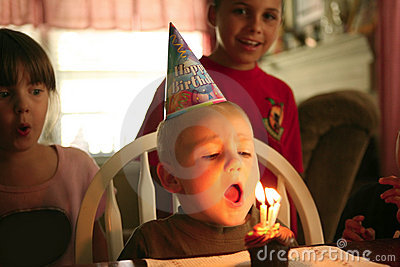 Happy Smiling Baby Boy Celebrating His Birthday