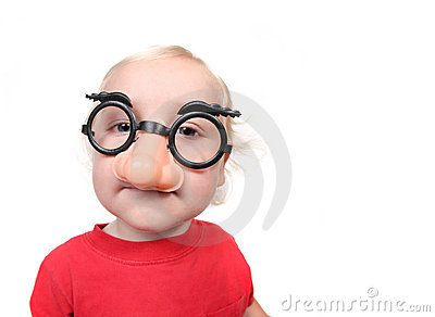 Funny Baby Toddler Boy Wearing a Humorous Mask i