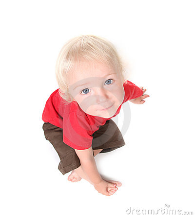 Top View Fisheye Shot of a Toddler Baby Boy