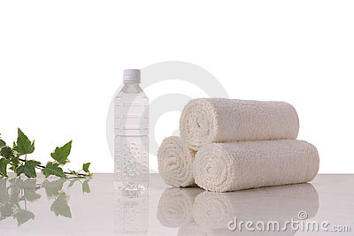 Towels and mineral water