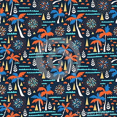 Seamless beach vector pattern with fireworks, palms and waves. Vector hawaiian background. Fabric design.