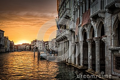 Grand Canal with Ca` d`Oro palace at sunset in Venice