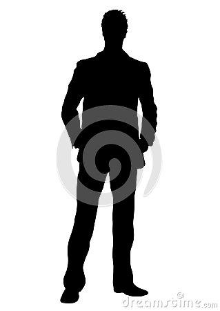 Business man vector silhouette, outline portrait male managing in costume standing front side full-length, human contour isolated