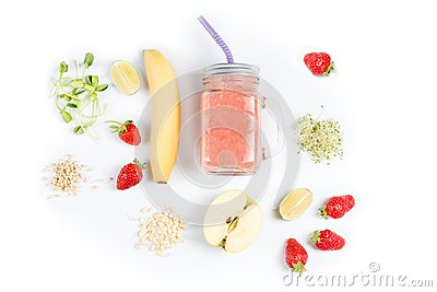 Detox cleanse drink, fruits and berries smoothie ingredients. Natural, organic healthy juice for weight loss diet or