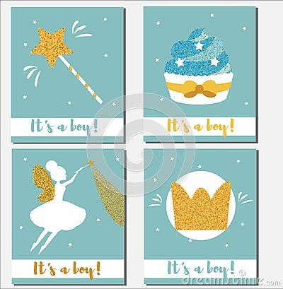 baby shower card design template it s a boy cards with gold