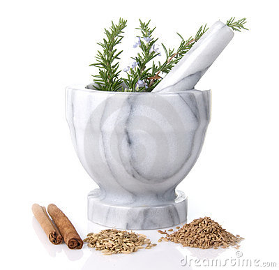 Mortar And Pestle With Rosemary