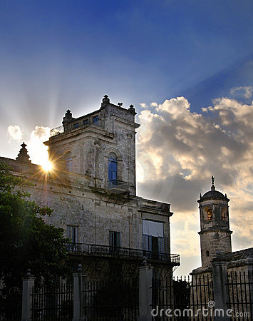 Old havana building at sunset