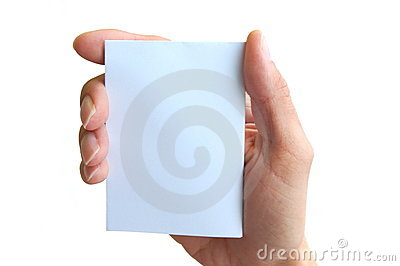 Hand holding a card