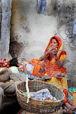 Indian woman on market