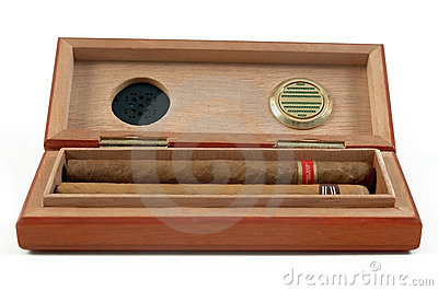 Premium cigars in cigar box