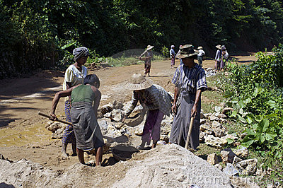 Road constructing in Burma