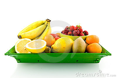 Mixed fruit on green tray
