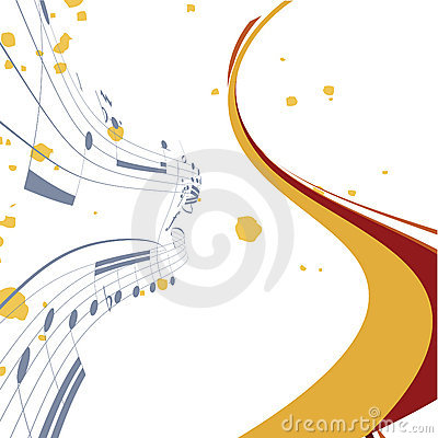 Abstract lines background with music notes