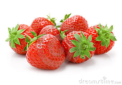 Red strawberry fruits isolated on white