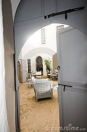View of courtyard in riad marrakech morocco