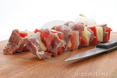 Shashlik with meat, onion and paprika