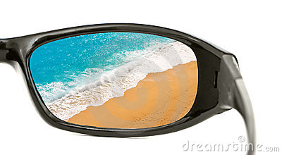 Beach view through sunglasses