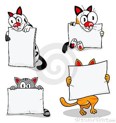 Cartoon cats with banners
