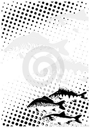 Fishes dots poster background