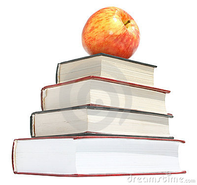 Apple with the books