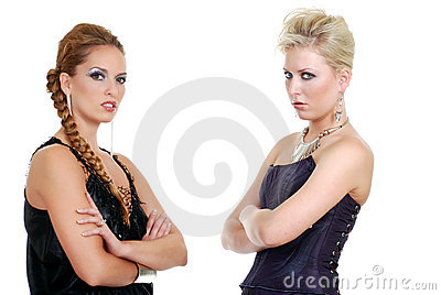 Two fashion models with attitude