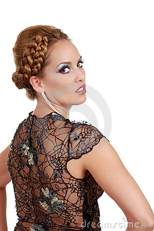 Woman wearing lace dress