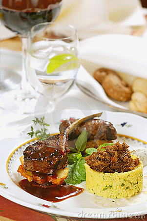 Grilled meat with couscous