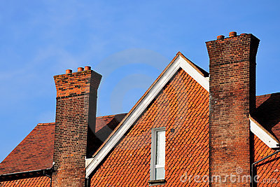 House top with chimneys