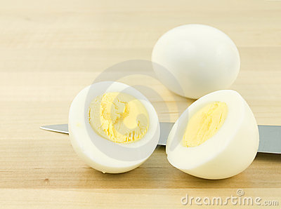Sliced Egg with Knife