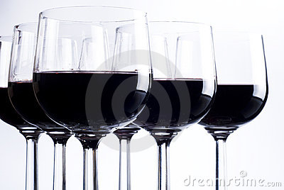Six glasses of red wine