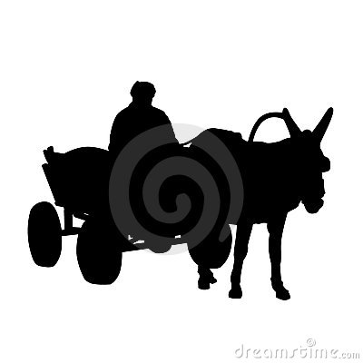 Silhouette,donkey and cart