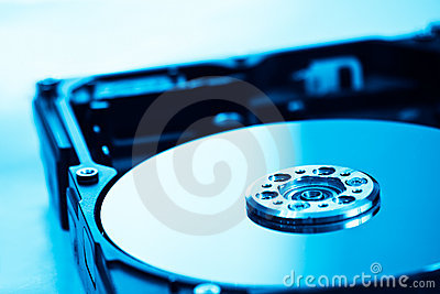 Hard disk in blue light