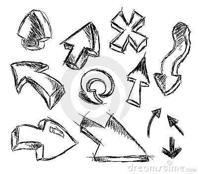 Set of Hand Made Sketch of Arrows