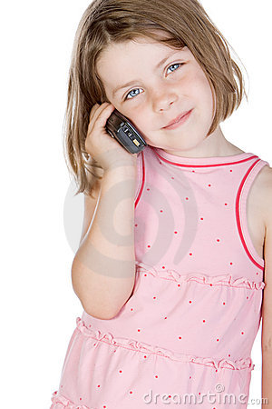 Cute Blonde Child Talking on the Phone