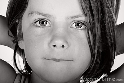 Black and White Shot of a Cute Child