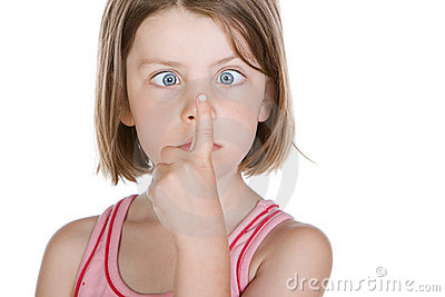 Cute Child Watching her Finger with Cross Eyes